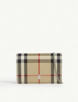 Jessie Vintage Check Canvas Wallet On Chain by Burberry