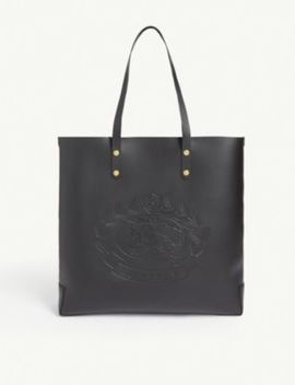 Logo Debossed Leather Tote Bag by Burberry