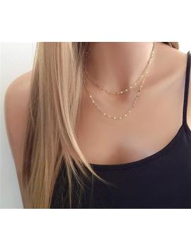 Dainty Gold Layering Chain Necklace Girlfriend Gift For Her • Simple Everyday Sterling Silver Sequin Chain • Birthday Gift by Etsy