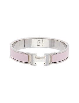 Hermès Palladium Plated & Pink Enamel Narrow Clic Clac H Bracelet by Hermes