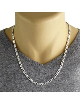 "Men's 925 Sterling Silver Curb Link Chain Necklace   120 Gauge 5 Mm   20""/22""/24"" by Etsy"
