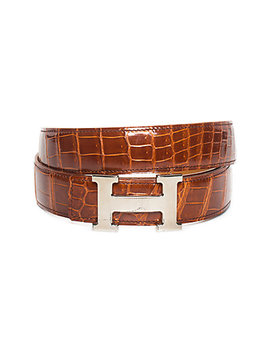 Hermès Brown Crocodile Leather Constance Belt, Size 95 by Hermes