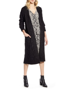 Cable Knit Long Cardigan by Halogen