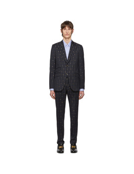 Navy Gg Pinstripe Suit by Gucci