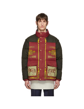 Red & Green Down Baroque Gillet Jacket by Gucci