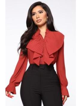 Looking For My Check Ruffle Shirt   Rust by Fashion Nova