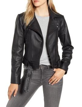 Samma Belted Leather Biker Jacket by Ted Baker London