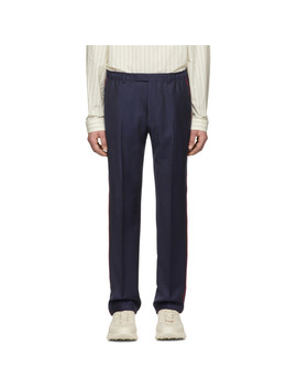 Blue Wool Fine Dots Trousers by Gucci