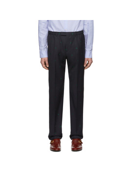 Navy Wool Jacquard Symbols Trousers by Gucci