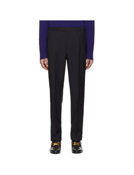 Navy Satin Piping Trousers by Gucci