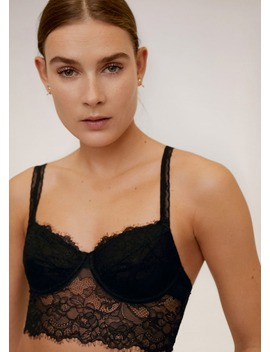Lace Triangle Bralette by Mango