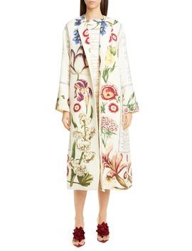 Floral Wool Open Front Coat by Oscar De La Renta
