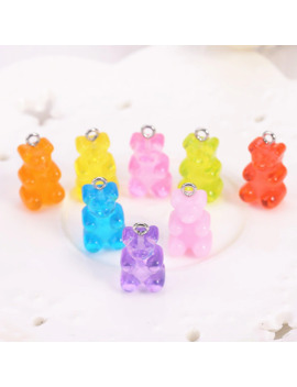 32pcs Resin Gummy Bear Candy Necklace Charms Very Cute Keychain Pendant Necklace Pendant For Diy Decoration by Ali Express.Com