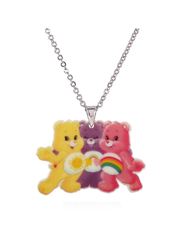 2016 Fashion Kawaii Acrylic Cartoon Bear Pendant Necklace For Women Girls Silver Chain Cute Children's Necklaces & Pendants by Ali Express.Com