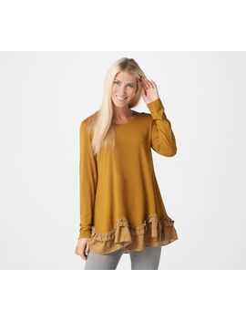 Logo By Lori Goldstein Rayon 230 Top With Crepe Chiffon Ruffles by Logo By Lori Goldstein®
