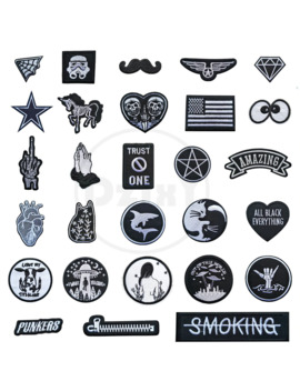 (46 Styles) 1 Pcs Black And White Patches For Clothes Iron On Finger Appliques Diy Skull Stripes Embroidery Sticker Round Badges by Ali Express.Com