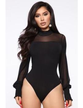 After Six Mesh Bodysuit   Black by Fashion Nova