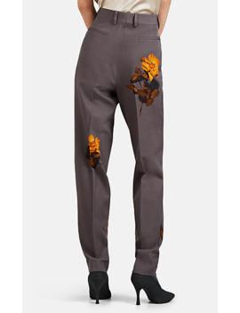 Rose Print Wool Straight Trousers by Dries Van Noten