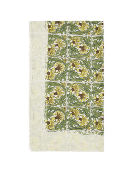 White & Green William De Morgan Modal Flowers Anagram Scarf by Loewe