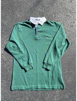 Vintage Tommy Hilfiger Rugby Shirt Large Long Sleeve Green Small by Tommy Hilfiger