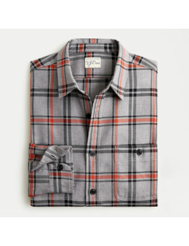 Midweight Flannel Shirt In Grey Plaid by J.Crew