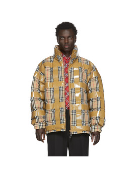 Beige Down Check Tape Jacket by Burberry