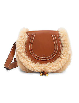 Small Marcie Shearling Trimmed Leather Saddle Bag by Chloé