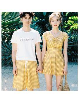 Higun   Couple Matching Short Sleeve Plaid Swim Dress / Beach Shorts / Set by Higun