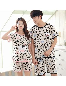 Pj Party   Couple Matching Pajama Set: Short Sleeve Cow T Shirt + Shorts by Pj Party