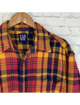 Men's Vintage Gap (Large) Multicolor Plaid Flannel Button Front Long Sleeve Shirt by Gap
