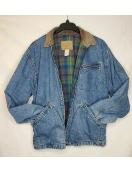 Vintage 90s Gap Jean Jacket Buffalo Plaid Flannel Lining Trucker Jacket Sz M by Gap
