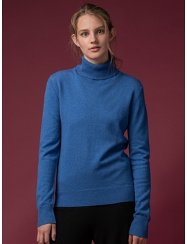 Turtleneck Sweater Parade Blue by Pure Cashmere Nyc
