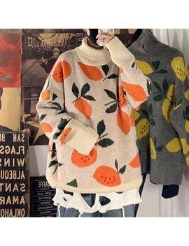 Yergo   Fruit Jacquard Turtle Neck Sweater by Yergo