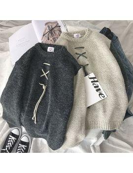 Mowak   Tie Accent Colorblock Knit Sweater by Mowak