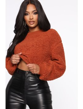 Secret Feelings Sherpa Pullover   Rust by Fashion Nova
