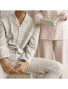 Meju   Couple Matching Pajama Set: Checked Shirt + Pants by Meju