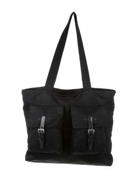 Leather Trimmed Tessuto Nylon Tote Bag by Prada