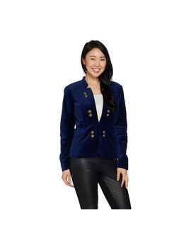 Du Jour Stretch Velvet Blazer With Front Button Detail by Du Jour(R) Fashions