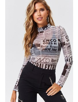 Cnco Newspaper Print Bodysuit by Forever 21