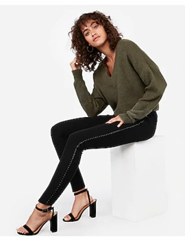 Mid Rise Black Braided Side Jean Ankle Leggings by Express