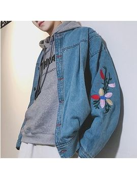 Puani   Flower Embroidered Button Denim Jacket by Puani