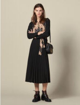 Long Pleated Dress by Sandro Eshop