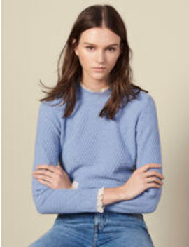 Pointelle Knit Sweater Trimmed With Lace by Sandro Eshop