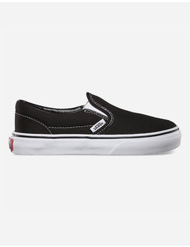 Vans Classic Slip On Black & White Kids Shoes by Vans