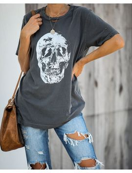 Strike My Interest Distressed Cotton Tee by Vici
