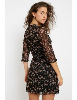 Uo Billie Dark Floral Mesh Wrap Mini Dress by Urban Outfitters