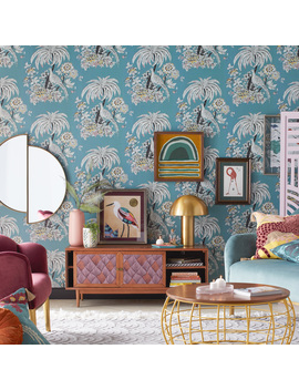 Tropical Toile Peel And Stick Wallpaper By Drew Barrymore Flower Home, Teal by Drew Barrymore Flower Home