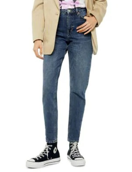 Petite Rich Blue Mom Jeans 28 Inch Leg by Topshop