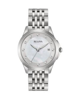 Analog Diamond Collection Stainless Steel Bracelet Watch by Bulova