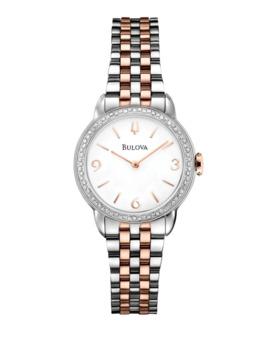 Analog Diamond Gallery Collection Two Tone Bracelet Watch With 0.36 Ct. T.W. Diamonds by Bulova
